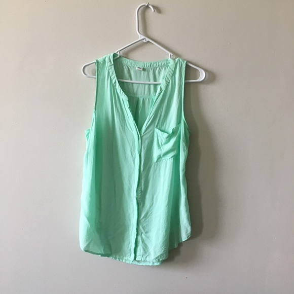 460b9be1b2245 Old Navy Tops | Mint Green Sexy Flowy Button Down Blouse | Poshmark
